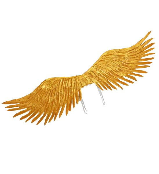 GOLD FEATHERED WINGS 100x25cm Accessory Christmas Angels Fancy Dress